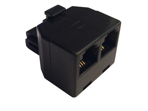 Skymaster Modular Telefon Verteiler 1/2 - RJ11 Stecker > 2x RJ11 Buchse 4-adrig