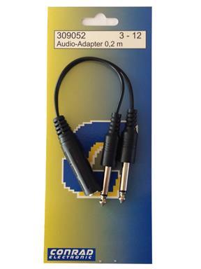 Conrad Klinke 6,3mm Kupplung Stereo auf 2x 6,3mm Stecker Mono Y-Kabel Verteiler