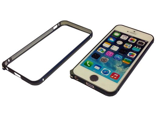 iPhone 6 Look Bumper Case für iPhone 5 5s Schutzhülle Cover Metall Alu Anthrazit