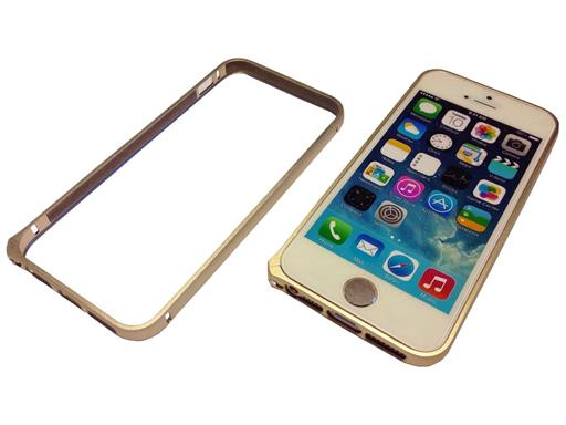 iPhone 6 Look Bumper Case für iPhone 5 5s Schutz-Hülle Cover Metall Alu Gold