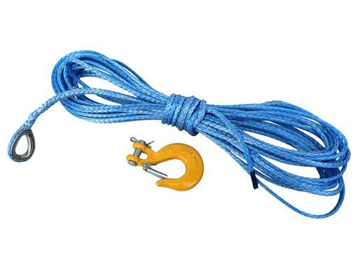 Synthetik Seil 5mm 15m für Seilwinde ATV- Quad- Dyneema SK78 Kunststoff-4x4 Offroad mit Haken von eXODA