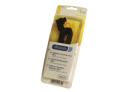 Vivanco Telefonanschlusskabel 3 m (TAE-F Stecker - RJ 11 Stecker) schwarz