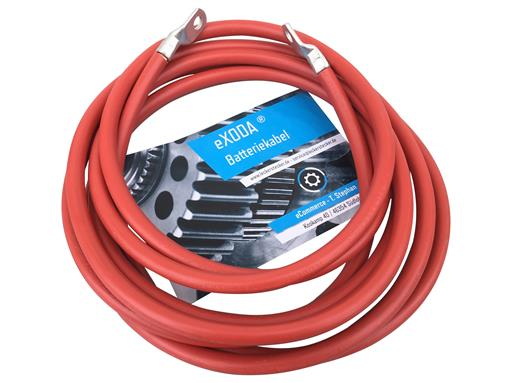 Batteriekabel 35 mm² 200cm Kupfer Stromkabel mit Ringösen M8 rot 12V KFZ Kabel von eXODA auch für Ihr Auto Ladegerät