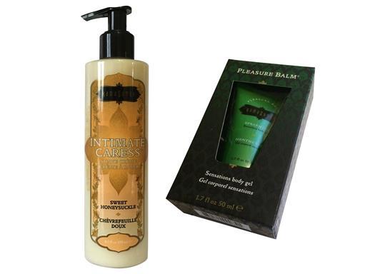 Kama Sutra Set Intimate Caress Sweet Honeysuckle Intimrasur und Pleasure Balm Spearmint Stimulationsgel für Frauen