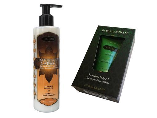 Kama Sutra Set Intimate Caress Sweet Ananas Kokosnuss Intimrasur und Pleasure Balm Spearmint Stimulationsgel für Frauen