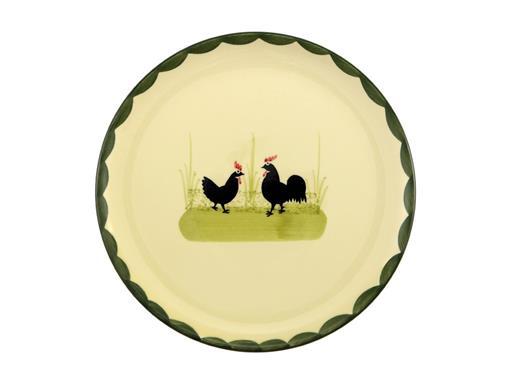 Zeller Keramik Teller Hahn und Henne (flach 21cm)