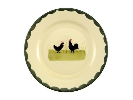 Zeller Keramik Teller Hahn und Henne flach 18cm
