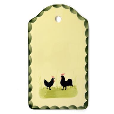 Zeller Keramik Brotplatte Hahn und Henne 25 x 15 cm