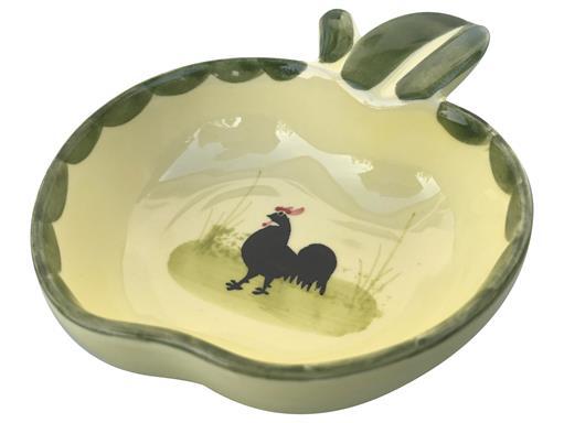 Zeller Keramik Schälchen Apfelform Hahn und Henne 12cm