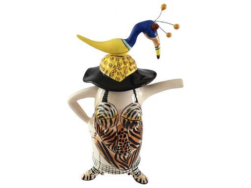 Jameson & Tailor Design Lady mit Hut Teapot Keramik Teekanne Dekor strange zoo 31cm