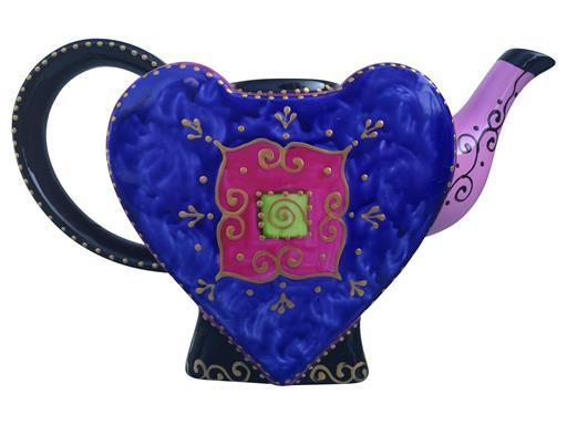 Jameson & Tailor Porzellan-Kanne Herzform Design Oriental Pink