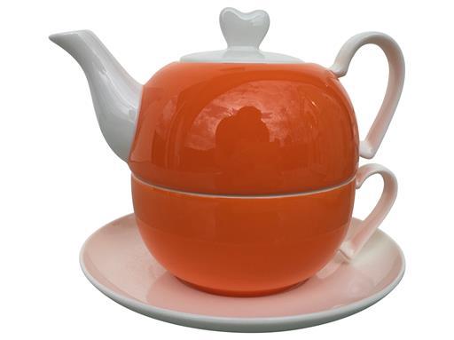 Jameson & Tailor 4tlg. Set Tea for one Diamantporzellan Herzen Dekor Orange