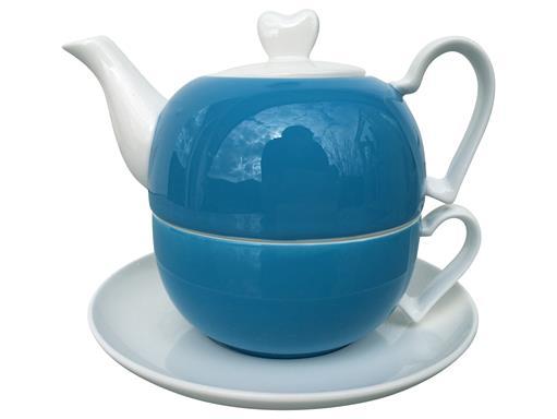 Jameson & Tailor 4tlg. Set Tea for one Diamantporzellan Herzen Dekor Blau