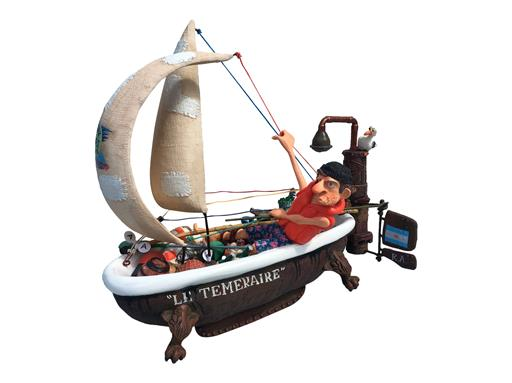 Gulliermo Forchino Ship Ahoy Skulptur Segelboot - Navire en Vue