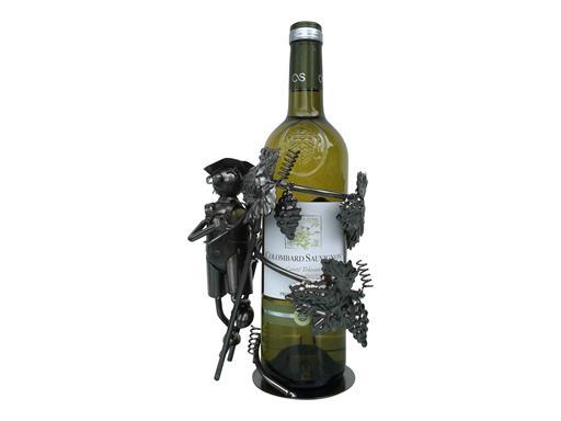 Weinständer Winzer mit Leiter Gilde Flaschenhalter für Weinflaschen Dekoration Metall Weinflasche kunstvolle Deko Wein Design