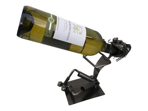 GELÖSCHT Dekorativer Gilde Flaschenhalter SCHLUCKSPECHT 28cm aus Metall 65062
