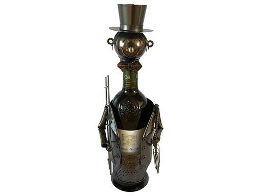 Weinständer Schornsteinfeger mit Leiter Gilde Flaschenhalter für Weinflaschen Dekoration Metall Weinflasche kunstvolle Deko Wein Design
