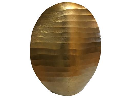 Messing Vase Flutto rund 30,5cm Messing Wellenoptik aus Aluminium von Gilde