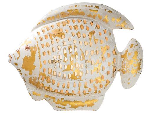 Fisch Wanddekoration 3D Wandrelief Laterne aus Metall Wandkunst Metallbild von Gilde