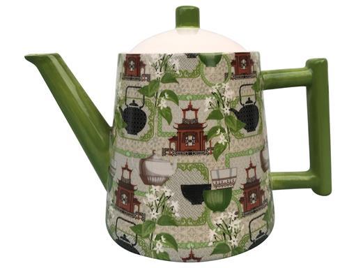Teekanne Retro grün Konisch Dekor Teemotiv 1,3l von Jameson & Tailor