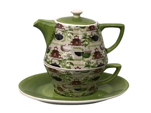 Tea for One Set Teekanne Retro grün Konisch Dekor Teemotiv 0,4l von Jameson & Tailor