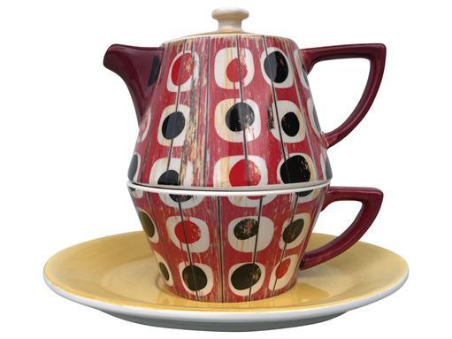 Tea for One Set Teekanne Dekor Shabby Chic Holz rot konisch 0,4l von Jameson & Tailor