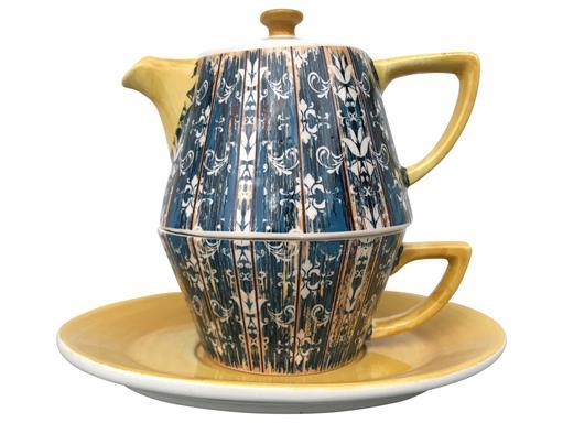 Tea for One Set Teekanne Dekor Shabby Chic Blau / Gelb konisch 0,4l von Jameson & Tailor