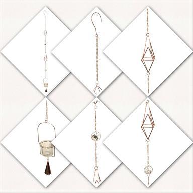 Windspiel Girlande Teelicht mit Glocke Deko aus Metall Kupfer mit beleuchteten Glassteinen und Teelicht Halter von Gilde