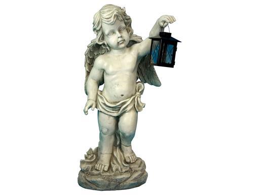 Wetterfeste Garten Statue Engel mit Laterne 102cm für draußen Skulptur Dekofigur