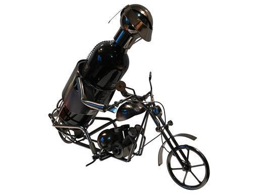 Weinflaschenhalter Motorrad Rainer Metall Figuren Motorradfahrer Design Deko